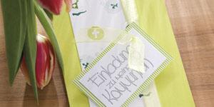 Ideen für Kommunion und Konfirmation: Frühlingsgrün | Einladung in Limettengrün und Weiß mit christlichen Symbolen und BUTTERER STEMPEL