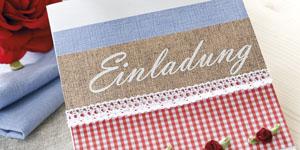 Ideen für Geburtstage: Landliebe | Einladung im Landhaus-Stil in Weiß, Leinen, Rot, Karo und Himmelblau mit Baumwollspitze und Rosen