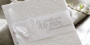 Ideen für Geburtstage: Fête Blanche | Einladung ganz in Weiß mit Schmetterling und BUTTERER STEMPEL