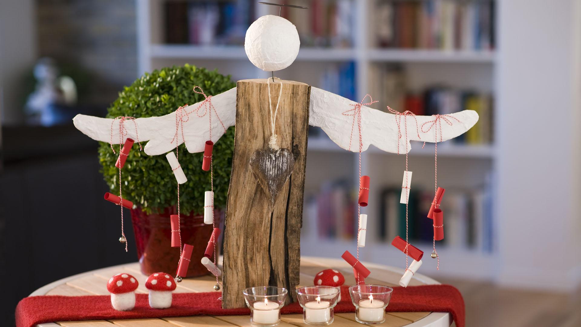 Ideen für Kaminholzengel: Adventsbote