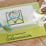 Ideen für die Kommunion: Herzliche Einladung | Einladungskarte in Limettengrün und Weiß mit Kommunionkind auf aquarelliertem Hintergrund