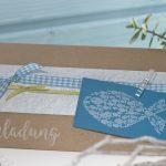 Ideen für Kommunion und Konfirmation: Mitten unter Euch | Einladung in Craft, Petrol, Azur und Weiß und dem BUTTERER STEMPEL Fischschwarm