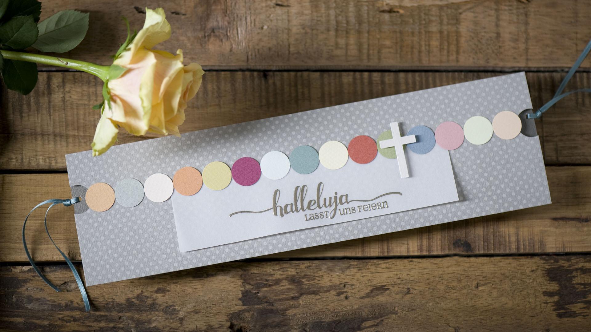 Ideen für Kommunion und Konfirmation: Halleluja - Lasst uns feiern | Einladungs- und Grußkarte