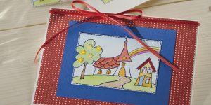 Ideen für Kommunion und Konfirmation: Kirche unterm Regenbogen | Einladungs- und Grußkarte in fröhlichen Farben