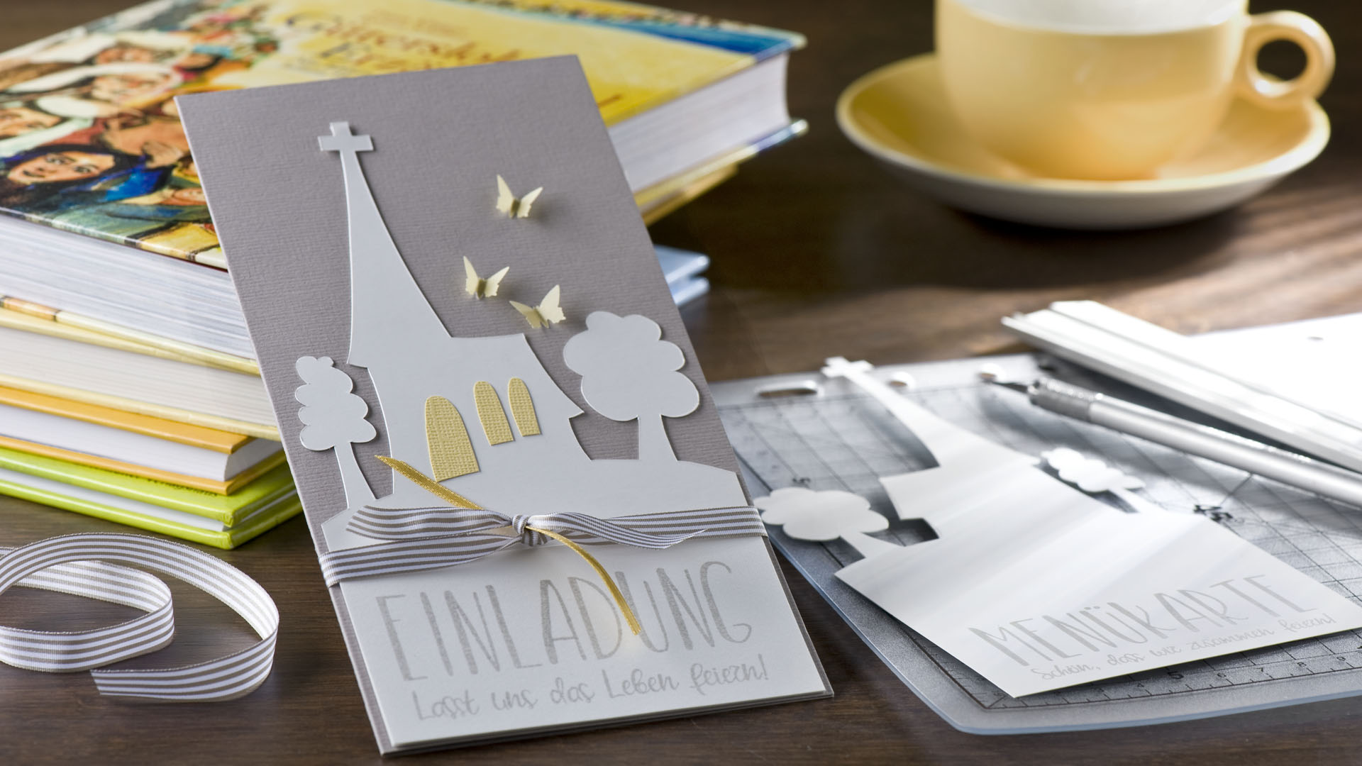 Ideen für Kommunion und Konfirmation: Komm zur Kirche | Einladung - Variante mit geradlinigem Schriftzug