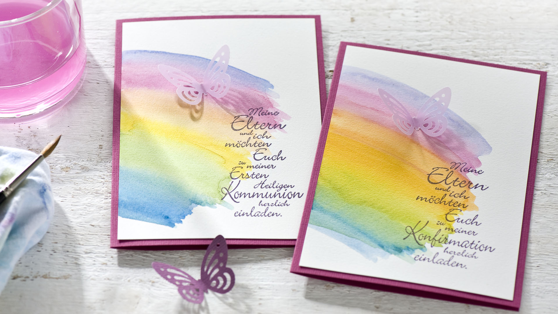Diy einladung kommunion konfirmation aquarell schmetterling regenbogen