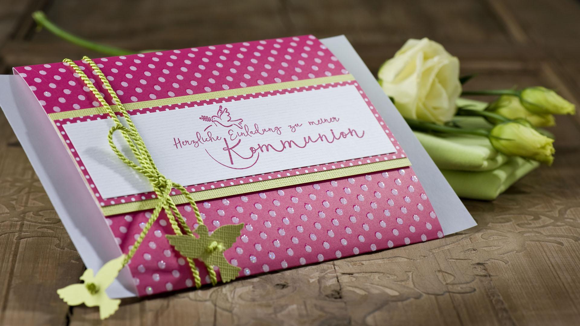 diy einladung kommunion pink gruen taube
