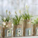 Ideen für den Frühling: Frühlingsgefühle   Eine DIY Idee für die Frühlingsdekoration zuhause: Kleine Packpapiertüten als Übertöpfe für Hyazinthen & Co. Dekoriert mit Holzbuchstaben, Chalky-Farbe und kleinen Stücken Karoband.