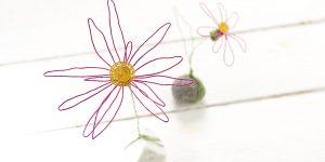 Ideen für Papierdraht: Hier kommt der Sommer | farbenfrohe Blüten aus Papierdraht in Pink, Gelb und Grün auf einem Stein