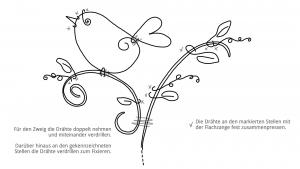 Ideen für Papierdraht: Vogelgezwitscher | Vorlage zum Ausdrucken