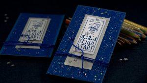 Ideen für den Schulanfang: 3..2..1 SCHULSTART | Einladung und Glückwunschkarte in spacigem Silber und Blau mit Stempel
