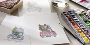 Ideen für die Weihnachtspost: Driving home for christmas | Inspiration für kleine Kunstwerke mit Aquarellfarben und Stempelmotiven