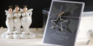 Ideen für die Weihnachtspost: Sternstunde | Weihnachtskarte in Anthrazit, Grau und Weiß mit aus Papierdraht gebogenem Stern und gestempeltem Schriftzug