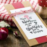 Ideen für Glückwünsche: Für kleine und große Glückspilze   Grußkarte in Natur, Weiß und Rot mit ausgefallenem Textstempel im Handlettering-Stil