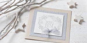 Ideen für die Weihnachtspost: Frohes Fest | Weihnachtskarte in winterlichen Naturtönen mit gestempeltem Motiv