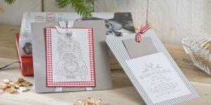 Ideen für die Weihnachtspost: Ganz schön hygge | Weihnachtskarten im skandinavischen Stil in lichtem Grau, Weiß und Rot mit aufwändigen Stempelmotiven
