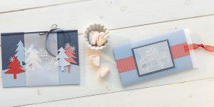 Ideen für die Weihnachtspost: On the road again | Weihnachtskarten in Jeansblau und Rot mit fröhlichem Stempelmotiv