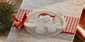 Ideen für die Weihnachtspost: Santa Claus | Weihnachtskarte und Lichtkarte oder Windlicht in Rot, Karo und Grautönen mit Nikolaus und Strickmuster