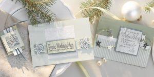 Ideen für die Weihnachtspost: Sternenzauber | Weihnachtskarten in zarten, eleganten Grüntönen mit Sternen und ausdrucksstarken, kalligraphierten BUTTERER STEMPELN