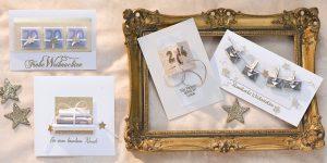 Ideen für die Weihnachtspost: Für besondere Wünsche | Verschiedene Weihnachtskarten für Geldgeschenke und Gutscheine in Weiß und Gold mit Glitzer und kleinen Sternen