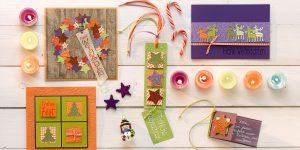 Ideen für die Weihnachtspost: Kunterbunte Weihnachtszeit | Variationen für Weihnachtskarten in Lila, Orange und Grün mit Motivlochern und verschiedenen Stempeln