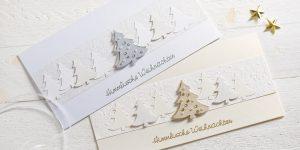 Ideen für die Weihnachtspost: Festlicher Glanz | Weihnachtskarten in himmlisch leichtem Weiß, Gold und Silber mit Tannenbäumen, Perlen, Kristallen und gestempeltem Text