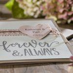 Ideen für Hochzeiten: Forever and always   Einladung und Glückwunschkarte in Taupe, Offwhite und Ashrose mit personalisiertem Herz und handgelettertem Schriftzug