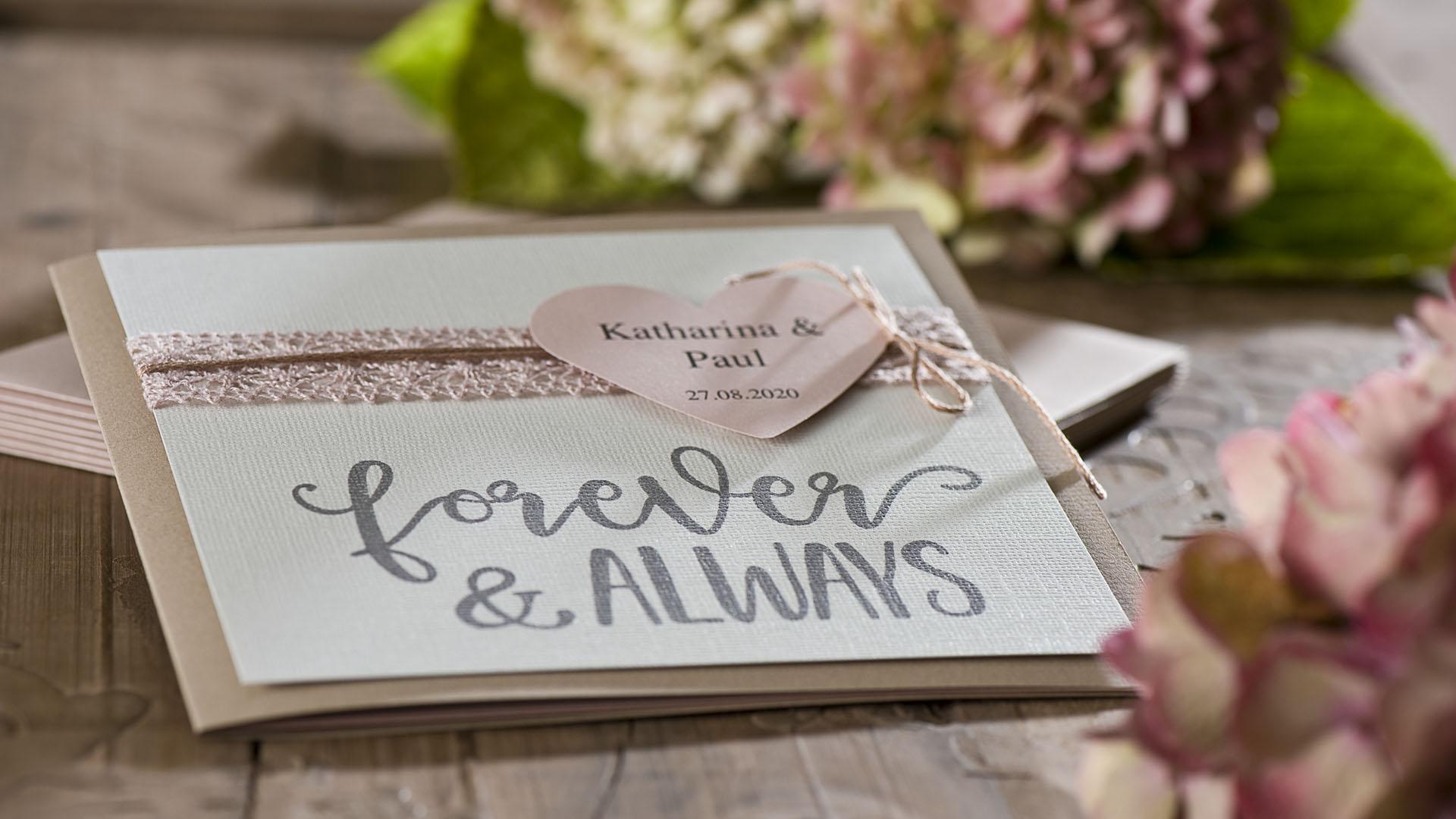 Ideen für Hochzeiten: Forever and always | Einladung und Glückwunschkarte