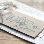 Ideen für Hochzeiten: Der schönste Weg ist der gemeinsame | Einladung und Glückwunschkarte in zartem, edlen Blau, Natur und sanftem Weiß mit Schleierkraut