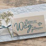 Ideen für Hochzeiten: Der schönste Weg ist der gemeinsame   Einladung und Glückwunschkartein zartem, edlen Blau, Natur und sanftem Weiß mit Schleierkraut