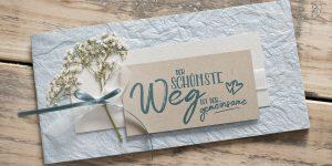 Ideen für Hochzeiten: Der schönste Weg ist der gemeinsame | Einladung und Glückwunschkartein zartem, edlen Blau, Natur und sanftem Weiß mit Schleierkraut