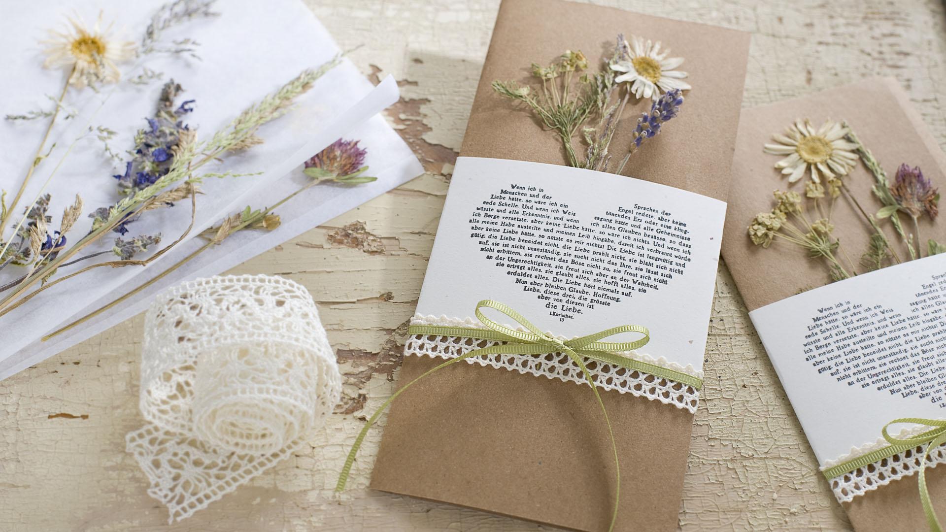 Ideen für Hochzeiten: Glaube, Liebe und Hoffnung | Einladung und Glückwunschkarte