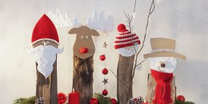 Ideen für Weihnachten: Kleine Freunde für die kalte Jahreszeit | Nikolaus, Elch, Kind mit Mütze und Schneemann aus Holzscheiten, Pappe, Gipsbinden, Wolle und Fröbelsternen