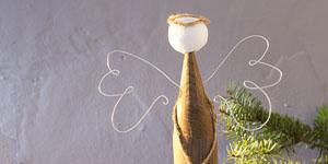 Ideen für Weihnachten: Engel mit Herz | Engel aus Holzpalisade, Wattekugel, Juteschnur und Aludraht