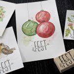 Ideen für die Weihnachtspost: Watercolor in der Weihnachtszeit   Anregungen für einfache aquarellierte Motive die mit einem gestempelten Schriftzug kombiniert werden können