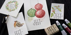 Ideen für die Weihnachtspost: Watercolor in der Weihnachtszeit | Anregungen für einfache aquarellierte Motive die mit einem gestempelten Schriftzug kombiniert werden können