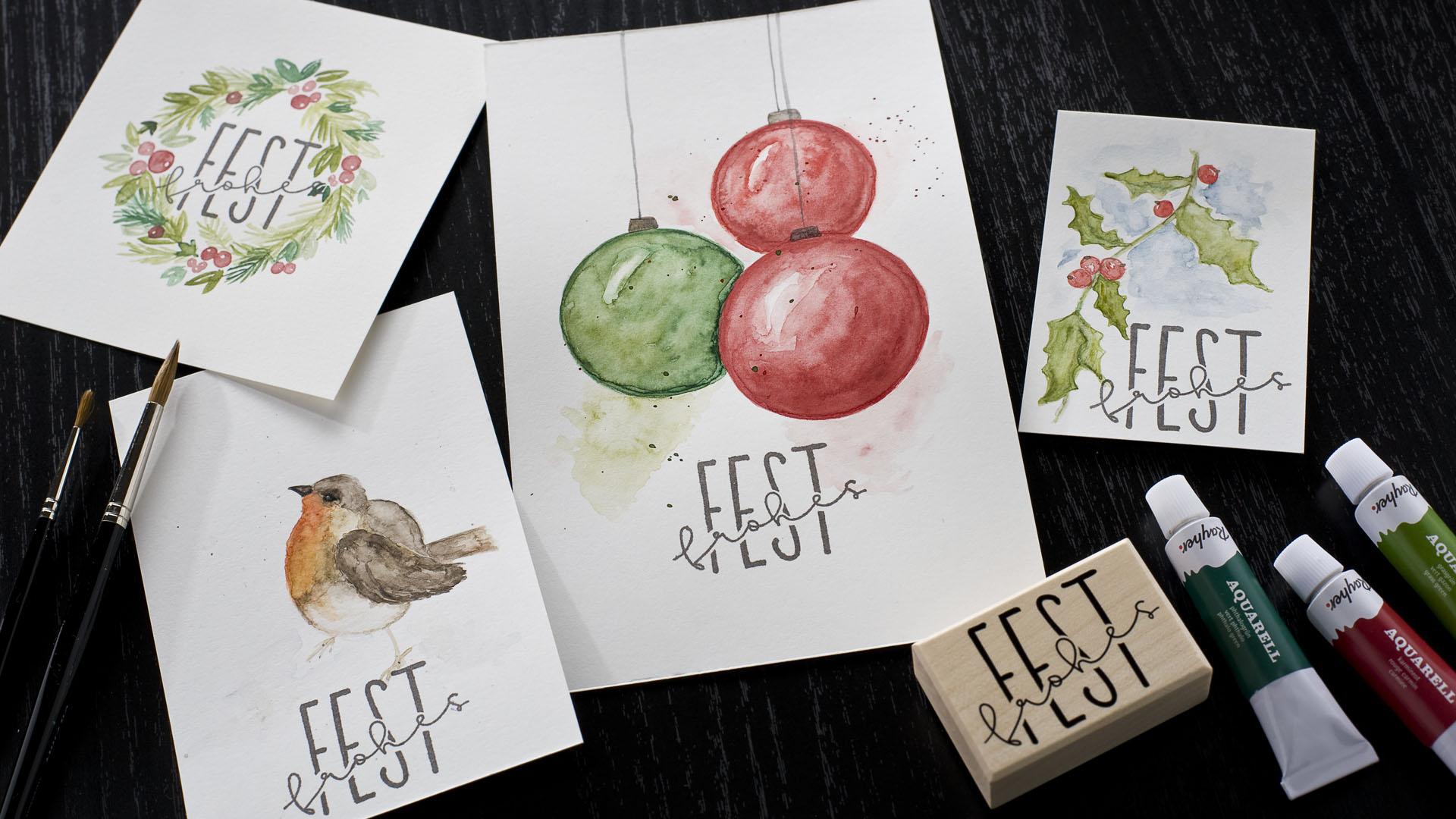 Ideen für die Weihnachtspost: Watercolor in der Weihnachtszeit